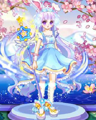 少女一袭温柔长发搭配可爱的侍应生米娅裙俏皮又不失温柔,紫晶萌萌妆