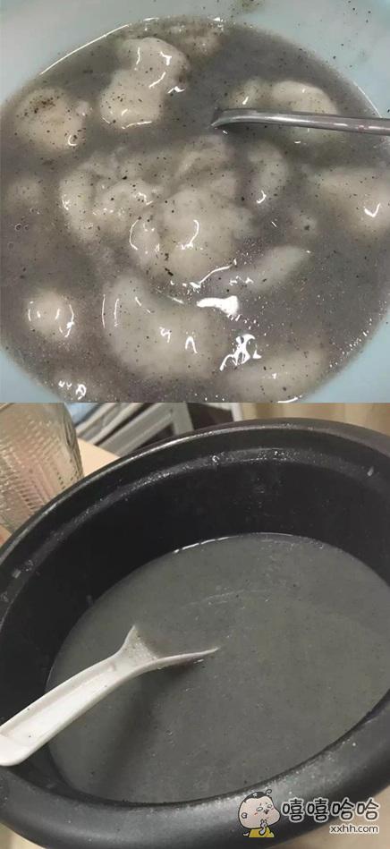 煮汤圆,前一秒没熟,后一秒成这样。。