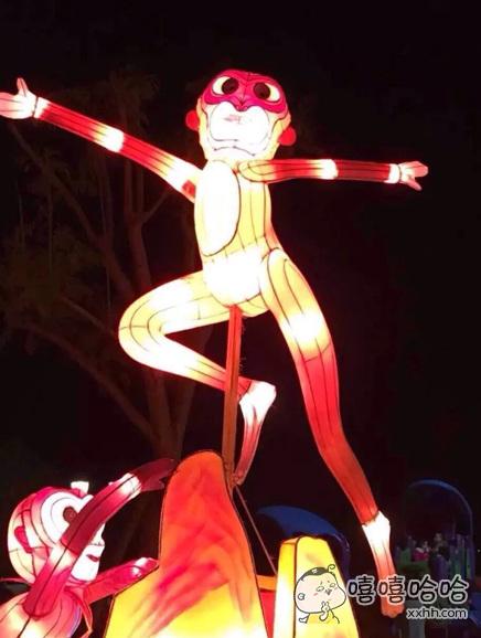 元宵,满街奇灯,又见为艺术献身的猴。。。