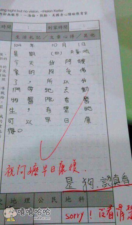 小朋友写的一篇作文,老师你能不能用点心。。。