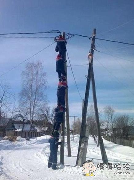 战斗民族都是这样维护电缆的。。。