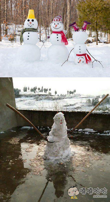 北方的雪人vs南方的雪人,简直形象!