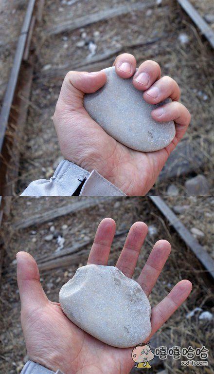 有人捡到了一块正好有五个豁口的石头,强迫症表示很满足