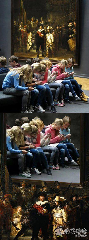 """一张""""伦布朗名画下,学生们只顾埋头看手机""""的照片,被PS了一下……"""
