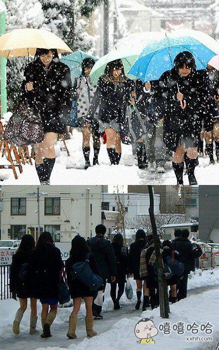 岛国女高中生的抗寒能力,你们感受下。