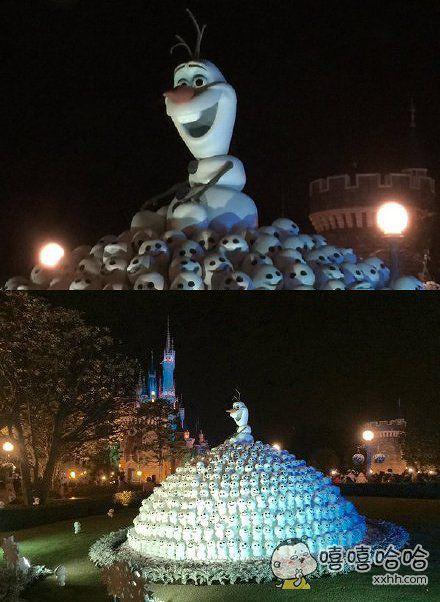 东京迪斯尼乐园里的雪宝雕像,感觉就在一堆白骨上,好恐怖!