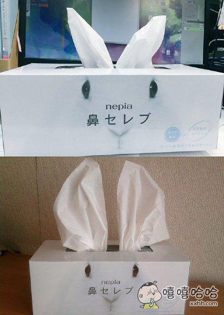 巧妙地将纸巾变成兔耳朵,好萌!