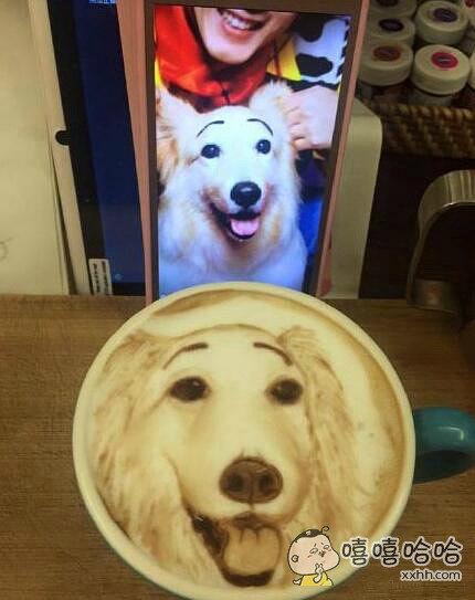 狗狗的咖啡自画像,舍不得喝了有没有?