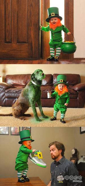 爱尔兰的圣帕特里克节,爸爸把儿子打扮成了传说中的小妖精
