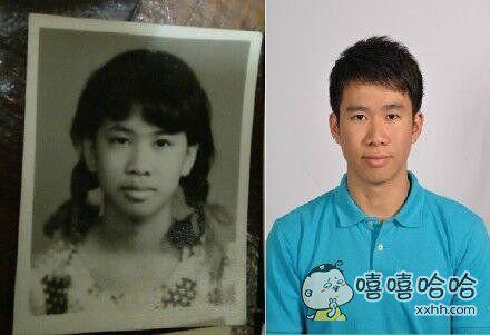 一网友说他长得像他妈妈年轻的时候。。。左边的真的不是戴假发版本?