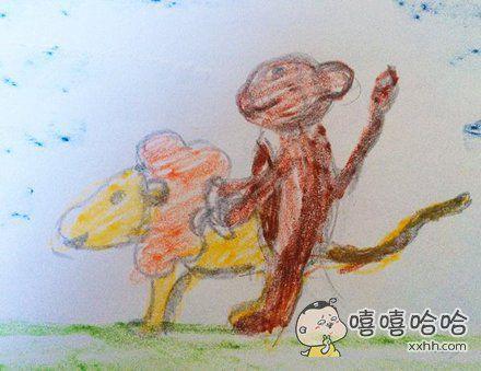 今天在动物园看到了猴子和狮子