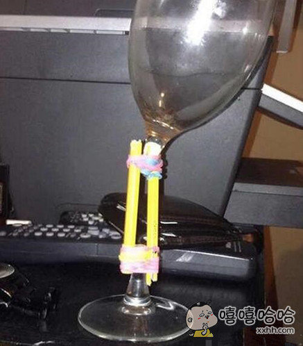 红酒杯坏成酱紫,修补修补还能用。。。