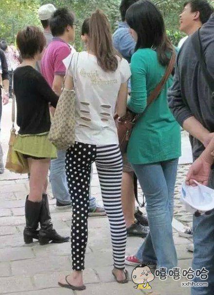 姑娘穿的很时尚啊