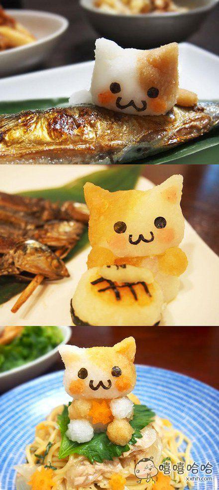 网友做的各种猫咪主题的料理,简直太可爱了根本不舍得吃啊!
