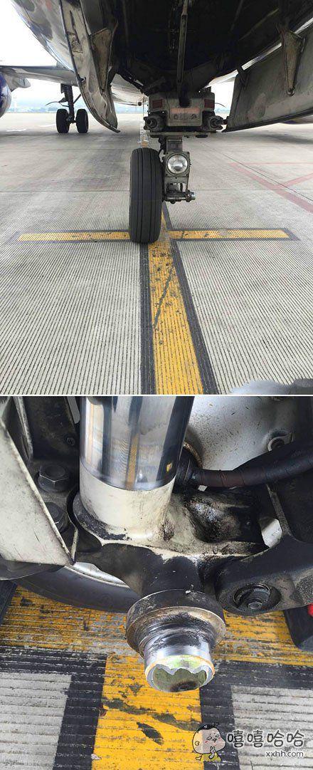 某国航空一架737南宁落地到位后发现掉了一个前轮……停得还挺准……