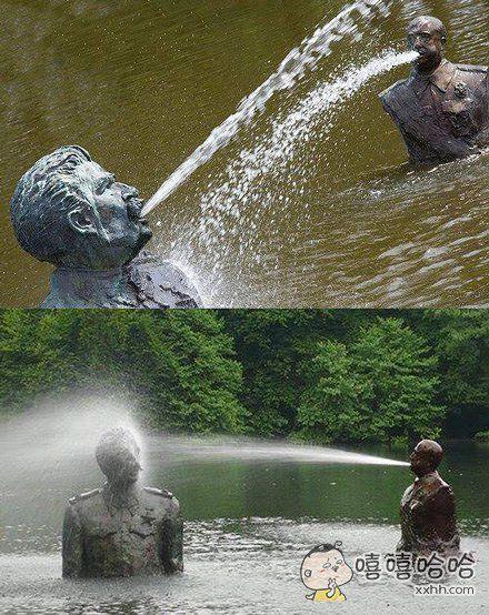 这个公园的铜像有点特别
