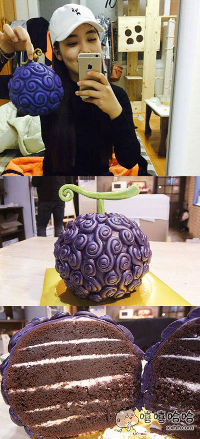 韩国最新的恶魔果实蛋糕,采用翻糖巧克力制成,和《海贼王》中的恶魔果实相似度爆表。吃完后感觉自己也是要成为海贼王的男人了!