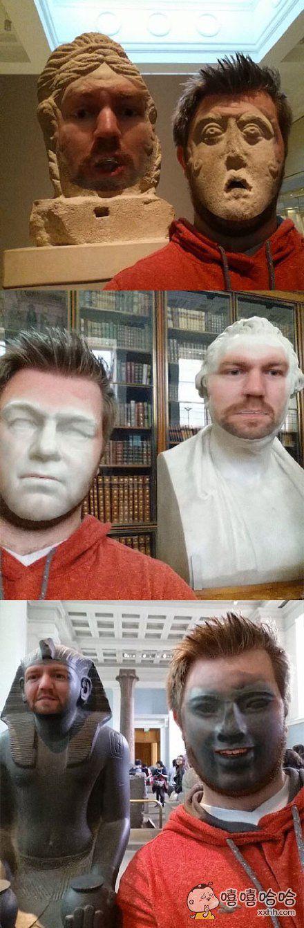 一个小哥致力于换脸,还专门跑去博物馆和各种雕像们换,平时看雕像没啥,换完的有点吓人好不好