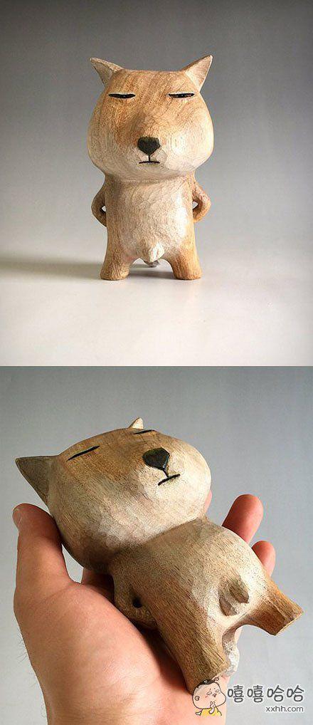 一位网友制作的藏狐木雕