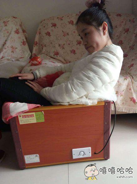 坐在箱子里暖和暖和