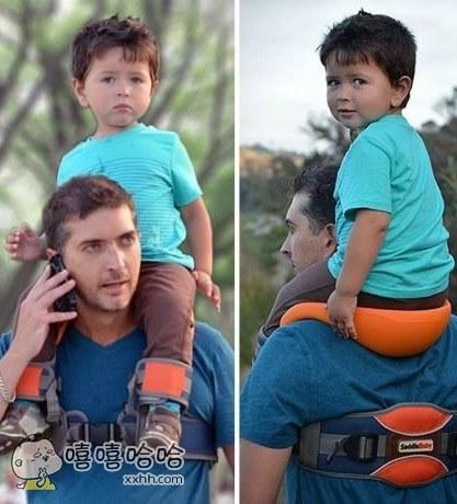 原来在爸爸肩膀上嬉戏也是有专业设备的,这下再也不用担心小孩乱动翻下去了!
