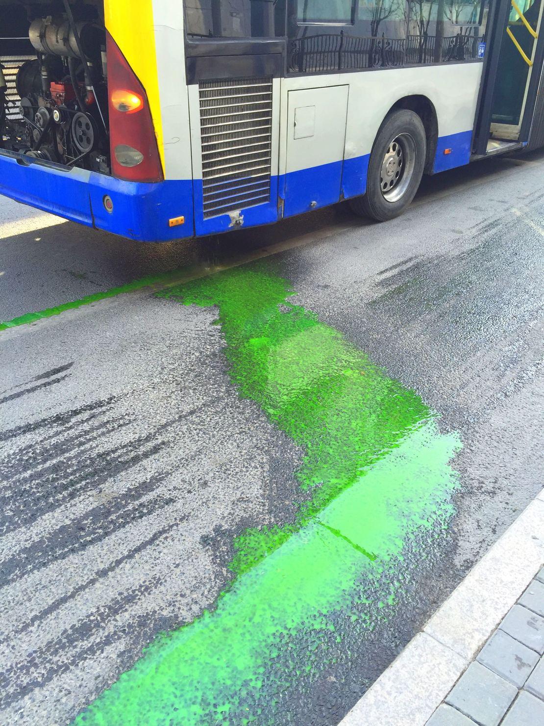 一大早出门看见一辆公交爬路边吐胆汁.Zombie bus~