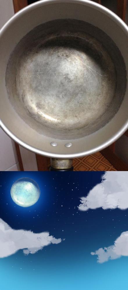 画手给出的贴心教程--《如何快速画一个月亮》:1.拍一张自家锅底;2.将锅底部分裁下来;3.放到天上……