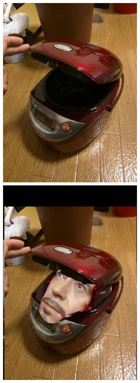 一妹子买了个新电饭锅,越看越像钢铁侠,没忍住PS了一下……毫无违和感