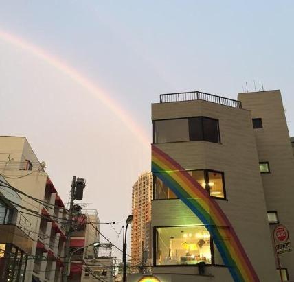 twi主@masa0410money 拍到的彩虹桥奇迹的拼接,分享好运气!