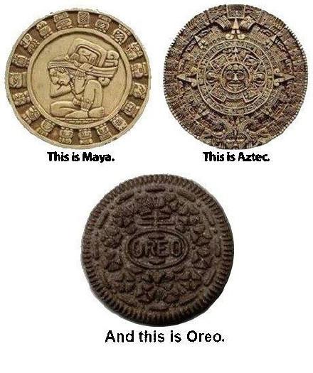 左上:玛雅文明。右上:阿兹特克文明。下方:奥利奥文明。 奥利奥的胜利