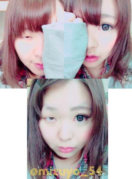 """一位名叫""""瑞世(mizuyo)""""的妹子展示了她的""""眼妆前""""VS""""眼妆后""""效果……以后再也不敢相信大眼妹了"""