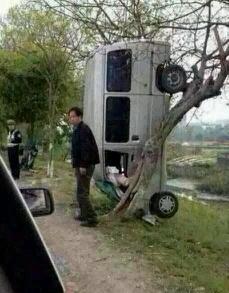 司机:我给你1000块你帮我把车弄下来 交警:我他妈给你3000块告诉我你怎么把车挂上去的? 司机:哎~天天酷跑玩多了……我以为能跳过去的