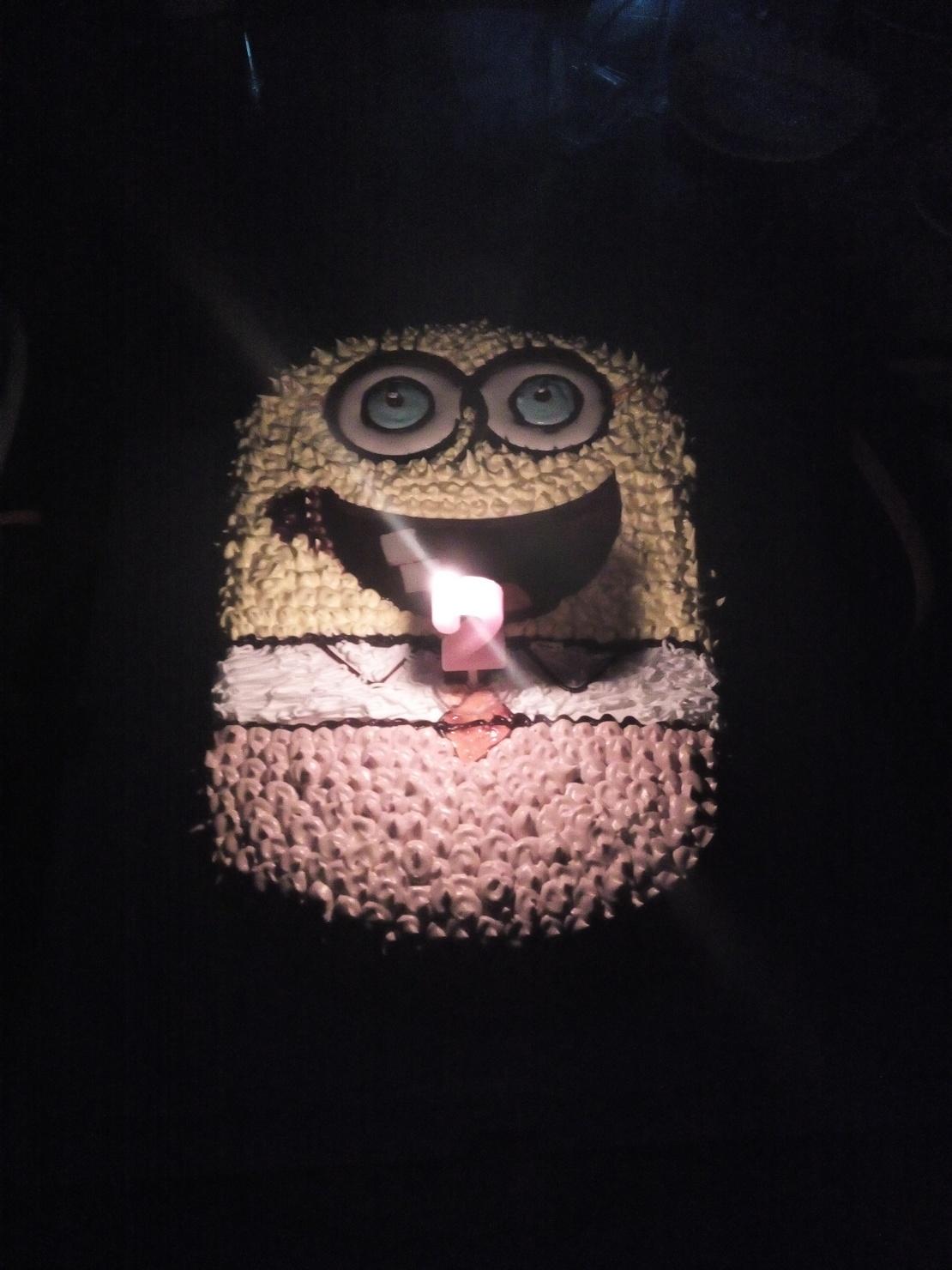给一个女性朋友庆祝生日,买了个很可爱的海绵宝宝蛋糕。结果关灯吹蜡烛时,把全场人吓尿了……