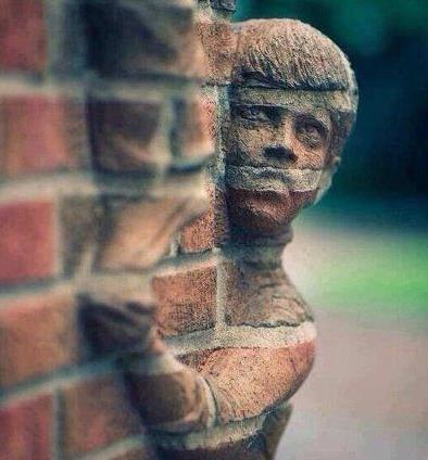 孩子,你是长到墙里了吗?惊呆了~