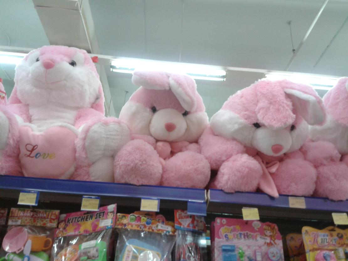 昨天在商场,女女看到一个大兔子玩偶,非要买,我从架子上拿下来让女女自己抱着,她抱不动,我就说放地上吧,我们买完东西再过来拿。结果买完东西回来,女女又叫又跳的说,爸爸小兔子自己飞上去了…