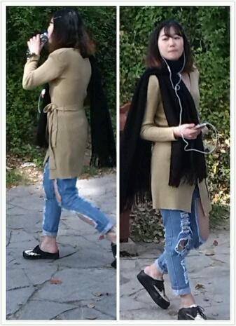 冒死偷拍,绝对原创。今天看见一美女穿得牛仔裤,这一定是祖传的,破的太严重了!