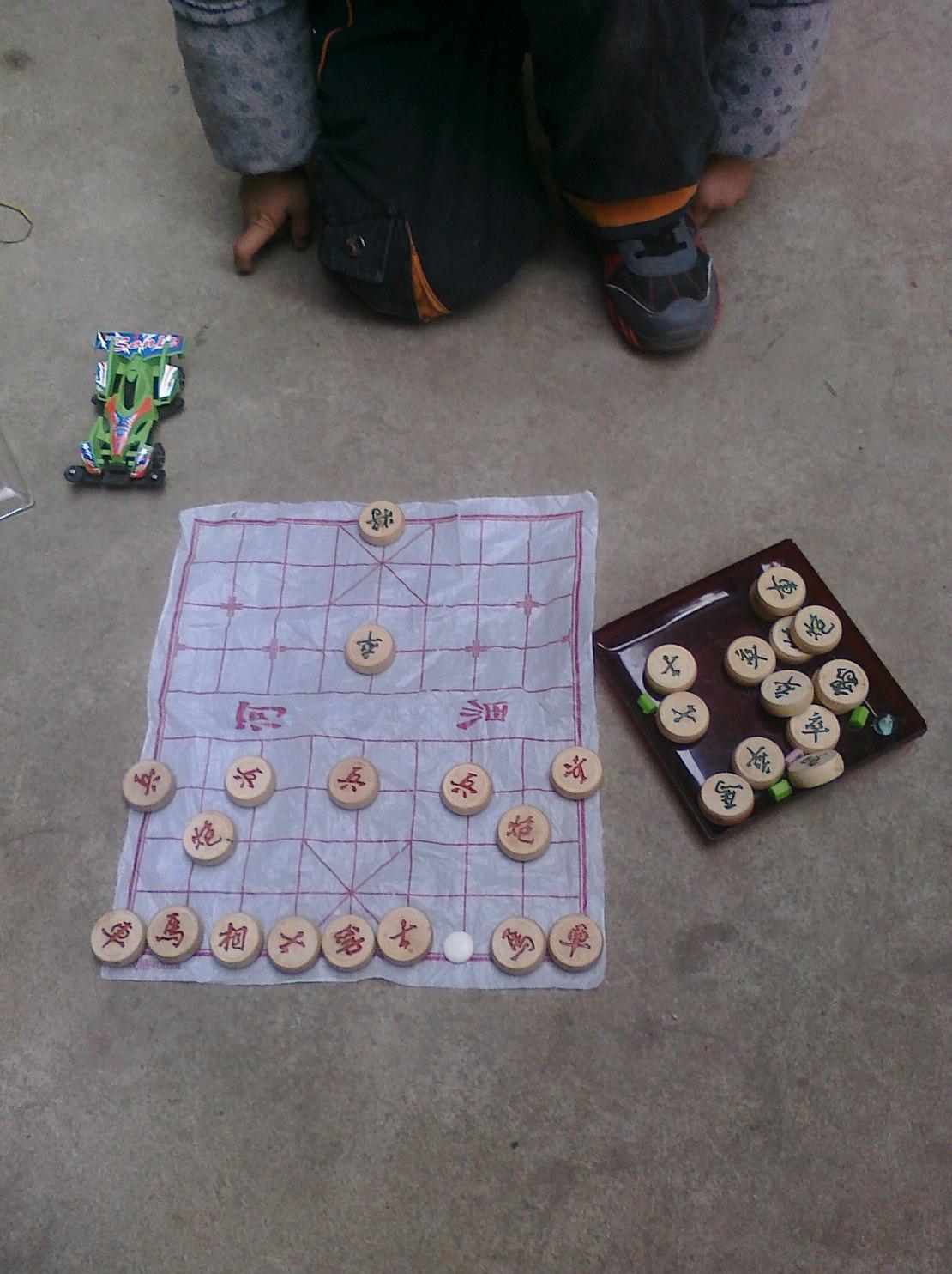 """堂弟似乎是刚学会下象棋 ——""""哥,来下象棋,来和我下象棋吧"""" ——""""不会,下不过你""""(我可没时间陪你个小屁孩玩....) ——""""没事没事,不会下,我可以让你棋子....."""" ——"""" 。。。。。。! 喂!!姑姑,我可以揍这熊孩子么? """" 说让我的,居然还留个卒子!"""