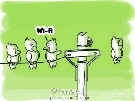 """""""它为什么不跟我们站在线上?""""""""笨蛋!它有无线(wifi)"""" /呲牙"""