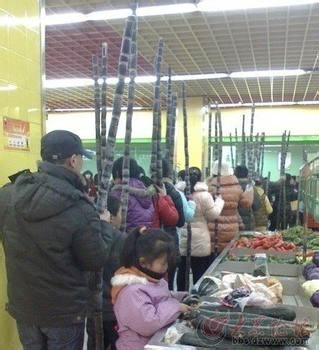 据说是某超市特价卖甘蔗的情景!尼玛我怎么看都像是在开丐帮大会呢?