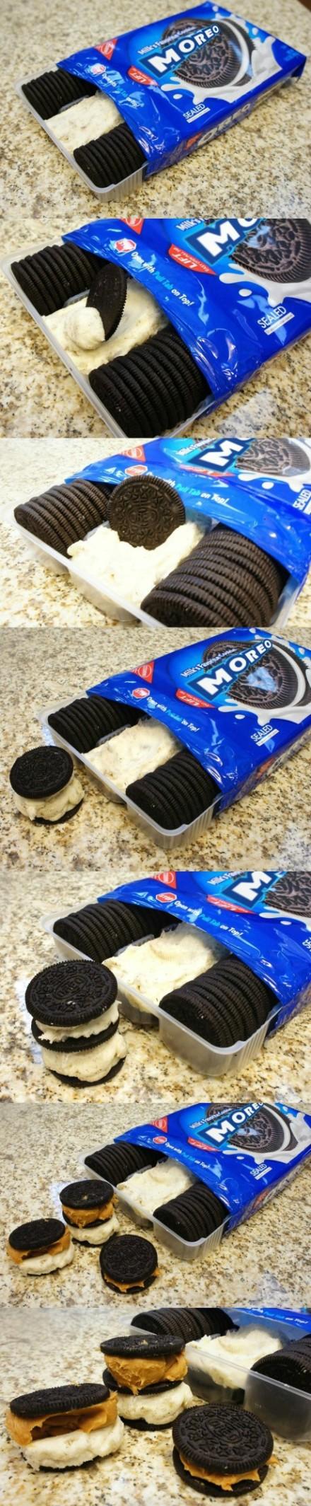 (不知道是不是奥利奥Oreo的新产品……)的玩意,把奥利奥的饼干和夹心分开放,这样就能随意加不同的份量来吃了..........