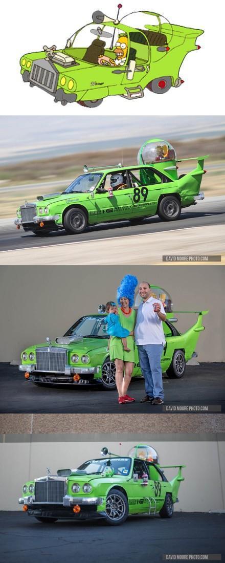 """哇,日前加州的24小时LeMons赛车比赛中,Porcubimmer Motors竟然将一辆宝马车改制成了《辛普森一家》中霍默自创的""""The Homer""""车,略拉风啊这个……"""