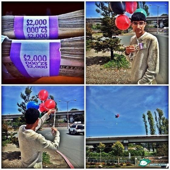 看下美国富二代的炫富方式:四个气球载着四千美刀飞向幸运的人, 天朝的富二代应该学习下吧