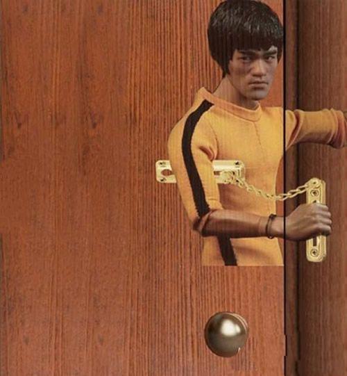 房门防盗链上画一个李小龙之后~