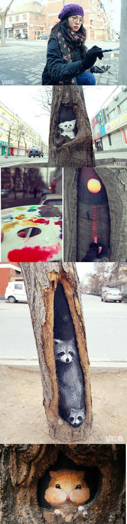 【树洞画、女孩:只想让灰蒙蒙的冬天变得多彩】一个女孩在树洞画的画惟妙惟肖,引网友围观。树洞画女孩叫王月,一名视觉传达专业大四学生。时常带着简单绘画工具,在石家庄九中街画画。 安静的城市是她的画室,司空见惯的树洞是她的画板。她想让石家庄灰蒙蒙的冬天变得缤纷多彩。