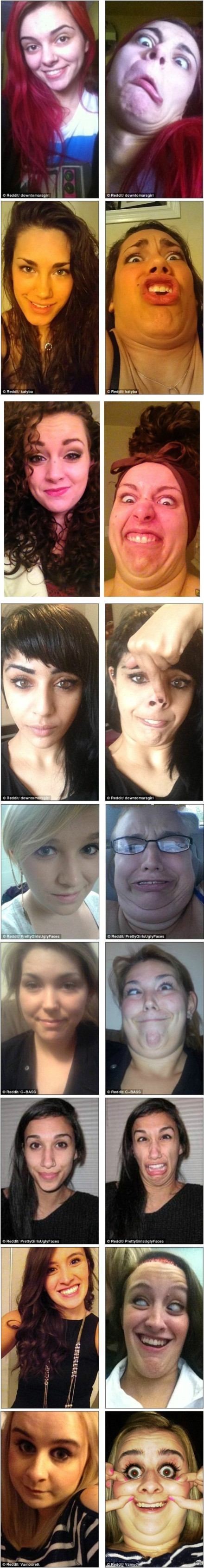 【Reddit上热门活动之一:漂亮姑娘做鬼脸】这是最近Reddit上的一个热门活动,就是妹纸们自己发一张自己正常的照片,然后发一张鬼脸照片,以最惨不忍睹最佳。于是,美帝的姑娘们拼了。。。