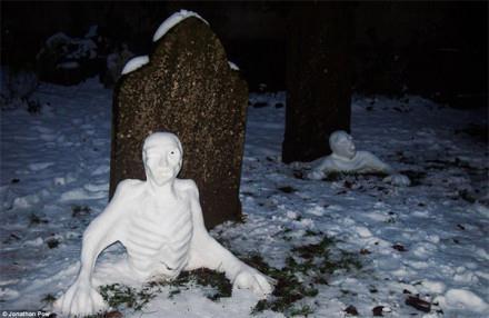 这尼玛谁堆的雪人,大半夜的吓死爹了嗷嗷嗷嗷嗷 (╯゜д゜)╯︵┻━┻
