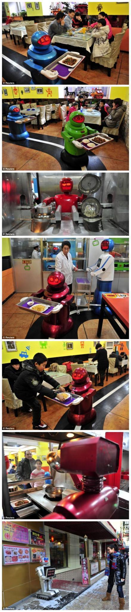 哈尔滨的一家饭店逆天了。。里面有一帮机器人,可以做饺子,面条,还可以送货,干活不利索的还可以选择蹲门口迎接客人。。。。。英国每日邮报报道后英国人表示傻眼。。