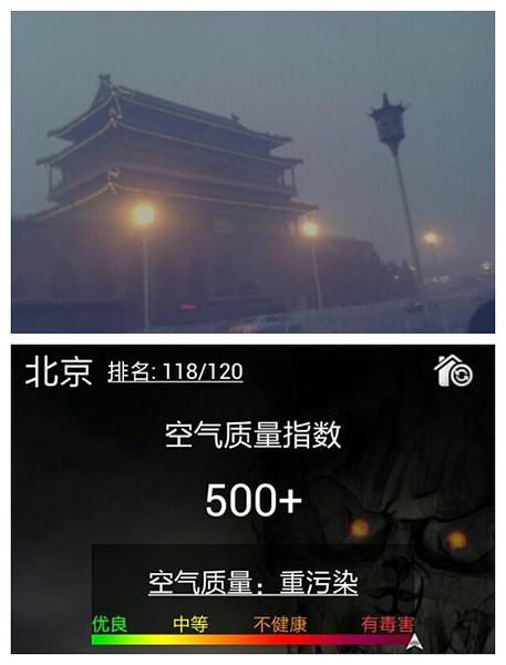 北京PM2.5现值500+已破表!北京全面开启寂静岭模式!!!