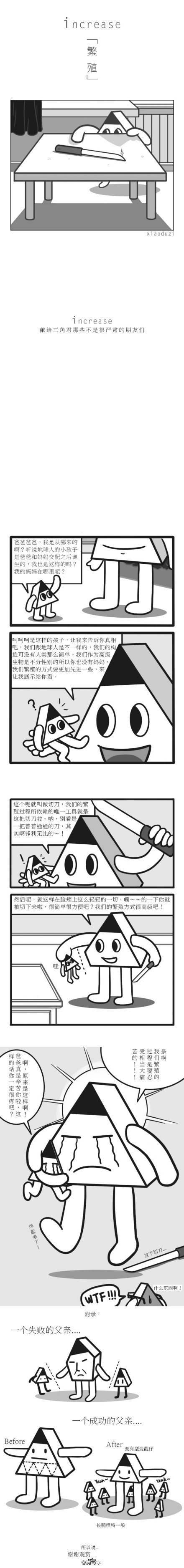 【 increase • 繁殖】画了一个小小故事,讲述了三角君是如何诞生以及他们是如何繁殖的。 #我的三角君#  【@消毒字】