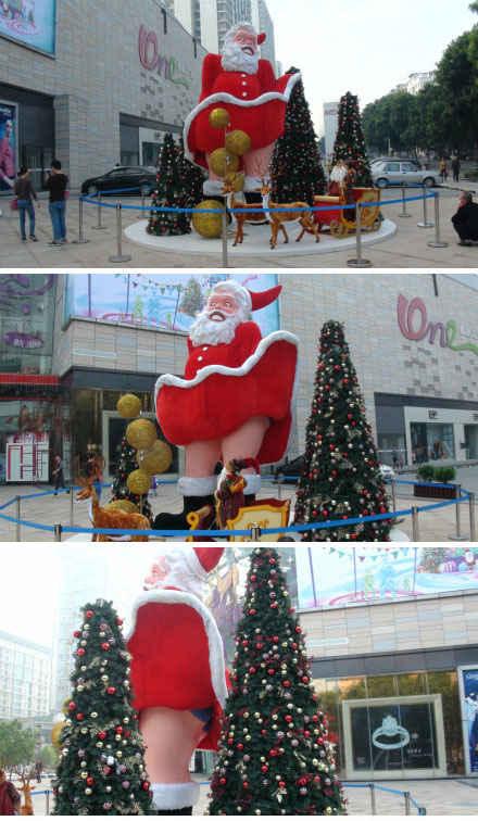 这个应该是今年东莞最大、最囧的圣诞老人了——梦露·圣诞老人。(图via:介子非)